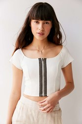 Urban Outfitters Uo Hashtag Zip Cropped Top Ivory