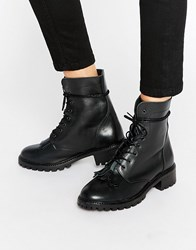 Pieces Diza Kiltie Leather Lace Up Boots Black Leather