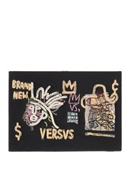 Olympia Le Tan Basquiat 'Versvs' Embroidered Book Clutch Black Multi