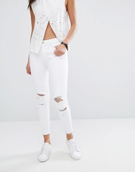 Mango Distressed Ripped Skinny Jean White