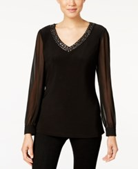 Alex Evenings Sheer Sleeve Beaded Top Black