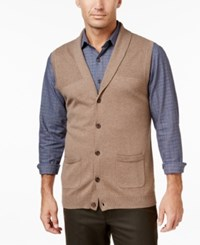 Tasso Elba Men's Big And Tall Shawl Collar Vest Only At Macy's Cocoa Bean Heather