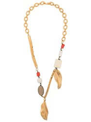 Marni Leaf Charm Long Necklace Gold
