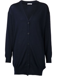 Tomas Maier Long V Neck Cardigan Blue