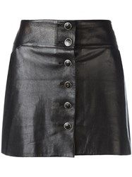 Chanel Vintage Leather Mini Skirt Black