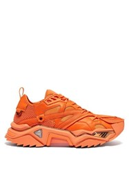 Calvin Klein 205W39nyc Strike 205 Mesh And Leather Trainers Orange