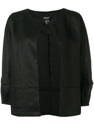 Dkny Open Cropped Sleeve Jacket Black