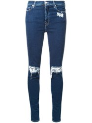 7 For All Mankind Distressed Skinny Jeans Blue