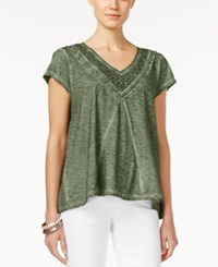 Styleandco. Style Co. Plus Size Crochet Trim Burnout V Neck Top Only At Macy's Lace Olive