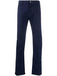 Emporio Armani Straight Leg Trousers With Pocket Square Blue