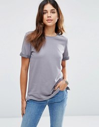 Asos Lightweight Knitted Loopback T Shirt Grey Navy