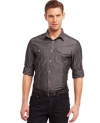 Kenneth Cole Reaction Core Long Sleeve Iridescent Chambray Slim Fit Shirt Black Combo