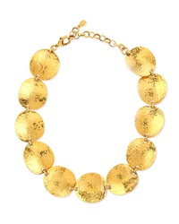 Jose And Maria Barrera Gold Plated Hammered Disc Necklace