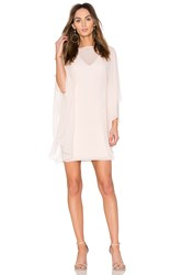 Halston Fitted Ponte Dress With Sheer Overlay Pink