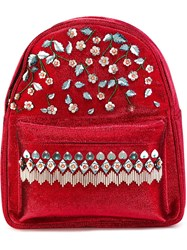 Manish Arora Small Flower Embellished Backpack Red