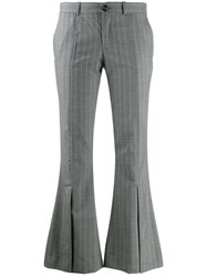 Each X Other Striped Kick Flare Trousers Grey