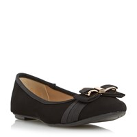 Head Over Heels Hadia Bow Trim Ballerina Shoes Black
