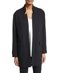Halston Slim Wool Blend Stand Collar Jacket Black