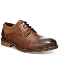 Alfani Morris Mixed Media Cap Toe Oxfords Only At Macy's Men's Shoes Brown