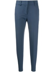 Piazza Sempione Slim Fit Tailored Trousers Blue
