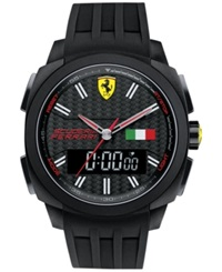 Scuderia Ferrari Men's Analog Digital Aerodinamico Black Silicone Strap Watch 46Mm 830123