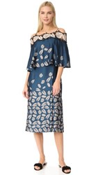 Yigal Azrouel Printed Off The Shoulder Dress Mariner Blue