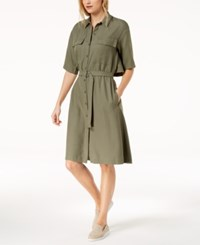 Lacoste Popover Back Pique Belted Shirtdress Army