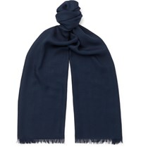 Loro Piana Fringed Cashmere And Silk Blend Scarf Blue