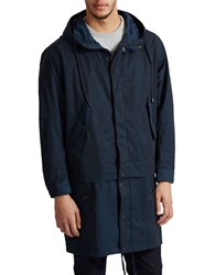 French Connection Long Sleeve Hooded Coat Marine Blue