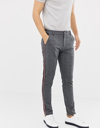 Solid Slim Pleated Trousers In Grey Green