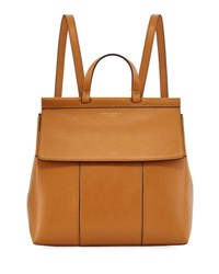 Tory Burch Block T Leather Backpack Tan