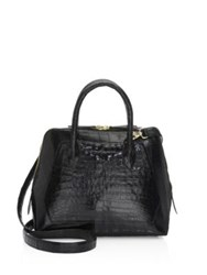 Nancy Gonzalez Crocodile Small Dome Handbag Black