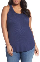 Sejour Plus Size Women's Rib Knit Tank Navy Peacoat