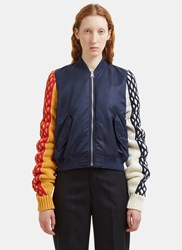 J.W.Anderson Contrast Cable Knit Sleeved Bomber Jacket Navy