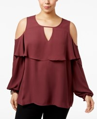 Eyeshadow Trendy Plus Size Ruffled Cold Shoulder Top Lovestruck