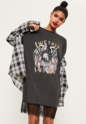 Missguided Grey Lace Bottom Graphic Printed Rock Dress
