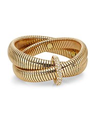 Diane Von Furstenberg Denim And Links Coiled Wrap Bracelet Crystal