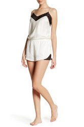 Josie Lace Trim Satin Romper White