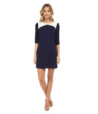 Brigitte Bailey Becky Color Block Shift Dress Navy Cream Women's Dress