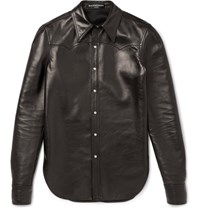 Balenciaga Slim Fit Leather Western Shirt Black