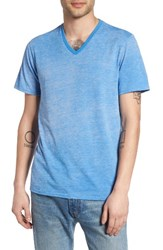 The Rail Men's Burnout V Neck T Shirt Blue Regatta Blue Ice Burnout