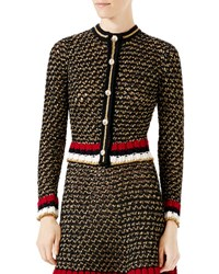 Gucci Metallic Knit Cardigan Black