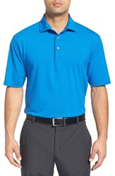Bobby Jones Men's 'Liquid Cotton Skyline' Stripe Jersey Golf Polo Marina Blue