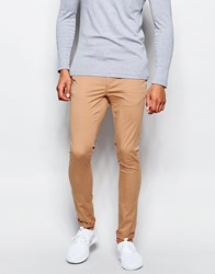 Asos Extreme Super Skinny Chinos In Soft Tan Doe