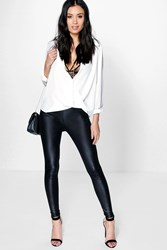 Boohoo Wet Look Pocket Back Leggings Black