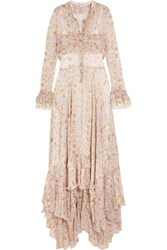 Philosophy Di Lorenzo Serafini Ruffled Floral Print Plisse Chiffon Maxi Dress Cream
