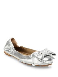 Tory Burch Divine Bow Metallic Leather Driver Ballet Flats Spark Gold Silver
