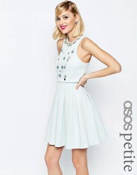 Asos Petite Embellishded Crop Top Mini Scuba Skater Mint Green
