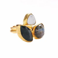 Ottoman Hands Miniature Labradorite White Chalcedony And Green Agate Three Stone Ring White Gold Grey