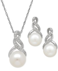 Macy's Cultured Freshwater Pearl 8 And 9Mm And Diamond Accent Pendant Necklace And Earrings Set In Sterling Silver